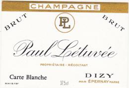 Etiquette Champagne Carte Blanche / Paul Létuvée (51) DIZY / 37.5 Cl - Champagne
