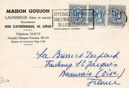 B10 Belgique Lettre De Maison Goujon Du 22-08-1952 Avec Flamme, Cachet Poste. Postée à Liege En Belgique - Flammes