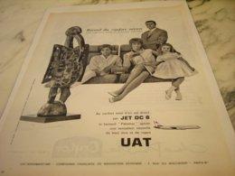 ANCIENNE PUBLICITE JET DC 8 ET   UTA 1961 - Advertisements