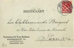 B11 Pays Bas Lettre De Verschuyl Du 24-09-1931 Avec Flamme, Cachet Poste. Postée à Amsterdam En Pays Bas - Flammes