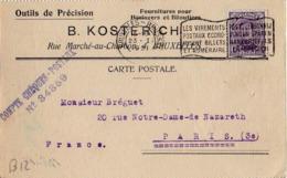 B12 Belgique Lettre De B. Kosterich Du 21-01-1921 Avec Flamme, Cachet Poste. Postée à Bruxelles En Belgique - Flammes