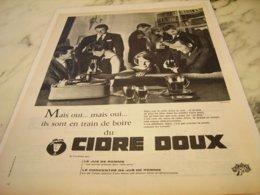 ANCIENNE PUBLICITE PLAISIR DE LA VIE CIDRE DOUX 1961 - Alcohols