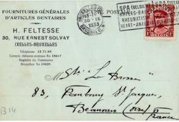 B14 Belgique Lettre De Feltesse Du 30-09-1933 Avec Flamme, Cachet Poste. Postée à Bruxelles En Belgique - Flammes