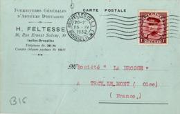 B16 Belgique Lettre De Feltesse Du 25-04-1932 Avec Flamme, Cachet Poste. Postée à Bruxelles En Belgique - Flammes