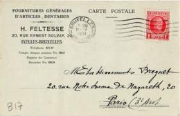 B17 Belgique Lettre De Feltesse Du 14-04-1931 Avec Flamme, Cachet Poste. Postée à Bruxelles En Belgique - Flammes