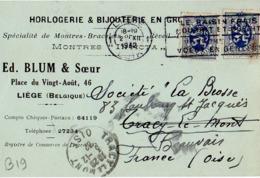B19 Belgique Lettre De Blum & Sœur Du 02-12-1932 Avec Flamme, Cachet Poste. Postée à Liege En Belgique - Flammes