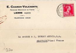 B20 Belgique Lettre De E. Charon-Volkaerts Du 25-01-1938 Avec Flamme, Cachet Poste. Postée à Lierre En Belgique - Flammes