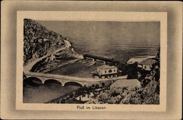 Cp Libanon, Fluss Mit Brücken, Felsen, Gebäude - India
