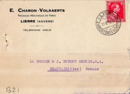 B21 Belgique Lettre De E. Charon-Volkaerts Du 27-02-1937 Avec Flamme, Cachet Poste. Postée à Lierre En Belgique - Flammes