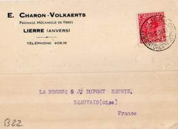 B22 Belgique Lettre De E. Charon-Volkaerts Du 25-06-1936 Avec Flamme, Cachet Poste. Postée à Lierre En Belgique - Flammes