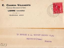 B23 Belgique Lettre De E. Charon-Volkaerts Du 02-05-1936 Avec Flamme, Cachet Poste. Postée à Lierre En Belgique - Flammes