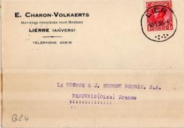 B24 Belgique Lettre De E. Charon-Volkaerts Du 10-01-1936 Avec Flamme, Cachet Poste. Postée à Lierre En Belgique - Flammes