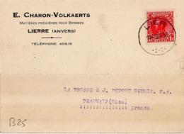 B25 Belgique Lettre De E. Charon-Volkaerts Du 18-12-1935 Avec Flamme, Cachet Poste. Postée à Lierre En Belgique - Flammes