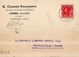B26 Belgique Lettre De E. Charon-Volkaerts Du 26-12-1935 Avec Flamme, Cachet Poste. Postée à Lierre En Belgique - Flammes