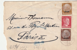 Lettre France Avec Censure / Occupation Allemande En Alsace Avec Timbres Alsace-Lorraine , Colmar--> Paris , 1941 - France