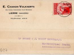 B27 Belgique Lettre De E. Charon-Volkaerts Du 08-06-1935 Avec Flamme, Cachet Poste. Postée à Lierre En Belgique - Flammes