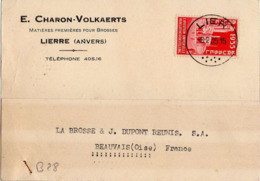 B28 Belgique Lettre De E. Charon-Volkaerts Du 08-02-1935 Avec Flamme, Cachet Poste. Postée à Lierre En Belgique - Flammes