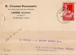 B29 Belgique Lettre De E. Charon-Volkaerts Du 08-01-1934 Avec Flamme, Cachet Poste. Postée à Lierre En Belgique - Flammes