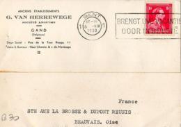 B30 Belgique Lettre De G. Van Herrewege Du 05-08-1938 Avec Flamme, Cachet Poste. Postée à Gand En Belgique - Flammes