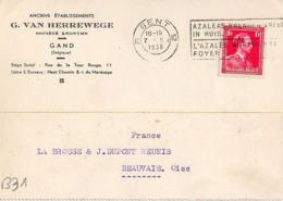 B31 Belgique Lettre De G. Van Herrewege Du 07-02-1938 Avec Flamme, Cachet Poste. Postée à Gand En Belgique - Flammes
