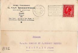 B32 Belgique Lettre De G. Van Herrewege Du 14-10-1935 Avec Flamme, Cachet Poste. Postée à Gand En Belgique - Flammes