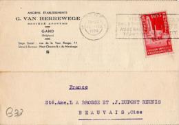 B33 Belgique Lettre De G. Van Herrewege Du 11-08-1935 Avec Flamme, Cachet Poste. Postée à Gand En Belgique - Flammes