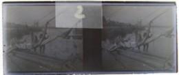 BREST Vers 1900 : Marins Ramenant Les Voiles. Pêcheurs. Voilier. Plaque Verre Stéréoscopique. Négatif. - Diapositiva Su Vetro