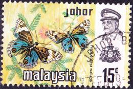 Malaiische Staaten V- Johore - Schmetterlin (Precis Orithya Wallacei) (MiNr:  166) 1971 - Gest Used Obl - Johore