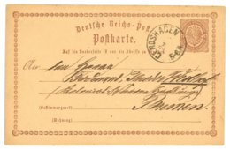 Deutsche Reichs-Post, Postkarte, Gerdshagen 1874, Amt Meyenburg Nach Bremen - Preussen