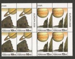 "FÄROE ISLANDS /FØROYAR / FÄROËR / ILES FÉROÉ - EUROPA 2009  - TEMA  ""ASTRONOMIA"" -  DOS BLOCS De 4 - DENTADA - Europa-CEPT"