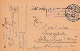 Feldpostkarte Avec Radfahrer - Abteilung / Der 51. Res Division + TàD K.D. Feldpostamt / Des XXVI. Res Armee Korps Du 28 - Poststempel (Briefe)