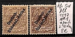 NB - [814753]TB//*/Mh-Allemagne 1897 - N° 1, Afrique Sud Ouest, 2 Tb Nuances - Colony: German South West Africa