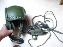 Militaria Conducteur Pilote De Char AMX - CASQUE Avec équipement Radio Complet Armée Française 1970 1980 - Divise