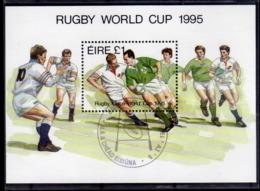 EIRE IRELAND IRLANDA 1995 RUGBY WORLD CUP COPPA DEL MONDO BLOCK SHEET BLOCCO FOGLIETTO FIRST DAY SPECIAL CANCEL FDC - Blocchi & Foglietti