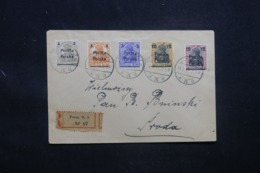 POLOGNE - Enveloppe En Recommandé De Posen En 1919 , Affranchissement Plaisant Surchargés - L 43352 - ....-1919 Provisional Government