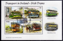 EIRE IRELAND IRLANDA 1987 TRANSPORT IN IRISH TRAMS BLOCK SHEET BLOCCO FOGLIETTO FIRST DAY SPECIAL CANCEL FDC - Blocchi & Foglietti