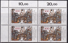 """BRD, 1991 Nr. 1511 **,  Viererblock Mit Eckrand Oben Links """"Schlacht Bei Liegnitz"""" - [7] République Fédérale"""