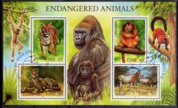 EIRE IRELAND IRLANDA 1998 FAUNA ENDANGERED ANIMALS ANIMALI BLOCK SHEET BLOCCO FOGLIETTO FIRST DAY SPECIAL CANCEL FDC - Blocchi & Foglietti
