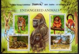 EIRE IRELAND IRLANDA 1998 FAUNA ENDANGERED ANIMALS STAMPA 98 BLOCK SHEET BLOCCO FOGLIETTO FIRST DAY SPECIAL CANCEL FDC - Blocchi & Foglietti