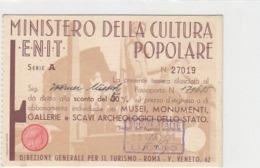 Tessera (non Cartolina Postale) - Ministero Della Cultura - Rilasciata Dalla Camera Svizzera-Italia           (191008) - Postales