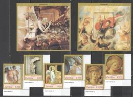 X1030 1997 ZAMBIA ART PAINTINGS CHRISTMAS 1997 #736-41 MICHEL 19 EURO SET+2BL MNH - Religion