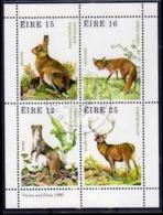 EIRE IRELAND IRLANDA 1980 FAUNA AND FLORA WILD ANIMALS BLOCK SHEET BLOCCO FOGLIETTO FIRST DAY SPECIAL CANCEL FDC - Blocchi & Foglietti