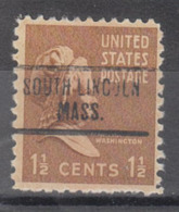 USA Precancel Vorausentwertung Preo, Locals Massachusetts, South Lincoln 734, Perf. Not Perf. - Vorausentwertungen