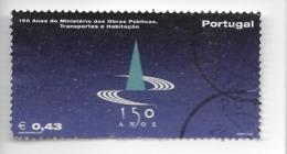 TIMBRES - STAMPS - PORTUGAL - 2002 - 150 ANS LE MINISTÈRE DES TRAVAUX PUBLICS TRANSPORTS ET DU LOGEMENT -TIMBRE OBLITÉRÉ - Oblitérés