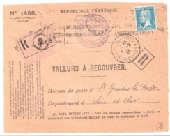 PARIS Valeur à Recouvrer 1488 1f Pasteur Yv 179 Dest St Gervais La Forêt Loir Et Cher Librairie Quillet Ob 1926 - Storia Postale