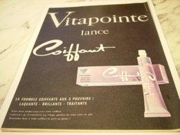ANCIENNE PUBLICITE CHEVEUX VITAPOINTE LANCE COIFFANT  1961 - Perfume & Beauty