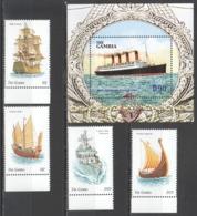 C1079 GAMBIA TRANSPORT HISTORY SAILING SHIPS & BOATS LINERS TITANIC BL+SET MNH - Bateaux