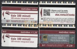 Roma, 2014-18, Metrebus, Biglietto Integrato, Sosta Parcheggi, Biglietterie Automatiche, 4 Biglietti - Metro