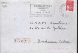 """Réunion 974 Le Tampon (DC) 07-03-03 Flamme =o """" Contraception Sexualité Sida 0800 10 10 10 - Marcophilie (Lettres)"""