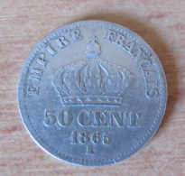 France - Monnaie 50 Centimes Napoléon III Lauré 1865 K - France